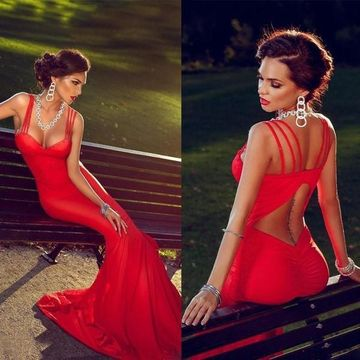 Sexy Red Mermaid Spaghetti Straps Sleeveless Backless Prom Dresses 2019 Open Back