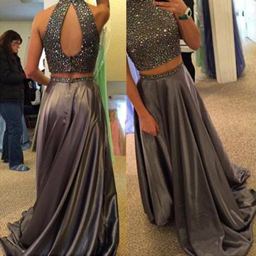 Long Sexy Grey A-line High Neck Sleeveless Zipper Beading Prom Dresses 2019 Two Piece