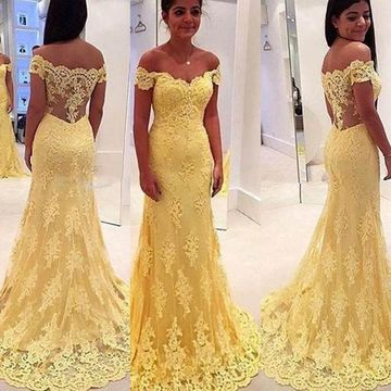 Long Sexy Yellow Mermaid Sleeveless Zipper Prom Dresses 2019 Lace