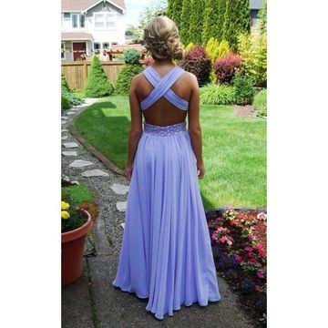 e79e1190fea 49%OFF Long Junior Purple Straps Sleeveless Backless Beading Prom ...