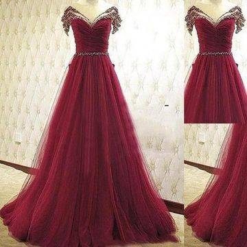 Long Red A-line V-Neck Sleeveless Beading Prom Dresses 2019