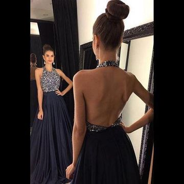 Long Sexy Black A-line Halter Sleeveless Backless Beading Prom Dresses 2019 Open Back