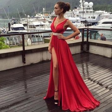 Long Sexy Red A-line V-Neck Sleeveless Beading Prom Dresses 2019 Chiffon