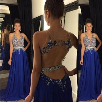 Long Sexy Blue A-line Straps Sleeveless Backless Beading Prom Dresses 2020 Open Back