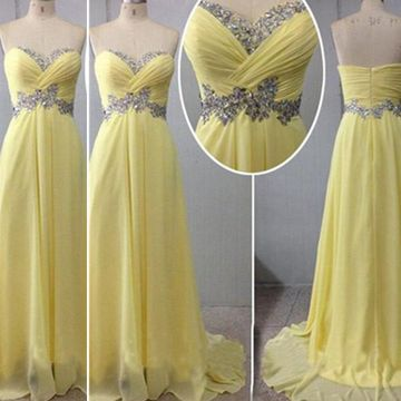 Long Yellow A-line Sweetheart Sleeveless Zipper Beading Prom Dresses 2019 Chiffon
