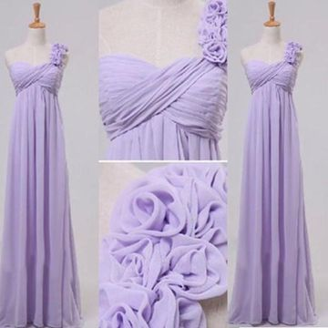 Sexy A-line One Shoulder Sleeveless Flowers Bridesmaid Dresses / Prom Dresses 2019 Chiffon