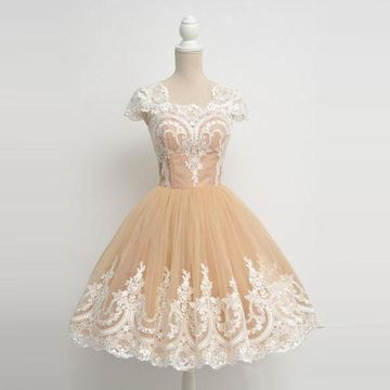 Vintage Princess Short Sleeves Zipper Appliques Homecoming Prom Dresses 2019