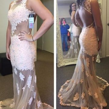 Long Mermaid Sleeveless Backless Appliques Prom Dresses 2019 Open Back