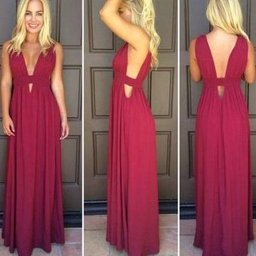 Long Sexy Red A-line V-Neck Sleeveless Backless Prom Dresses 2020 Open Back Chiffon