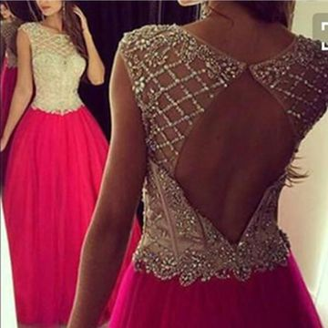 Long Sexy Red A-line Capped Sleeves Backless Beading Prom Dresses 2019 Open Back Chiffon