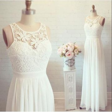 Long Cute White A-line Sleeveless Zipper Prom Dresses 2019 Chiffon Lace