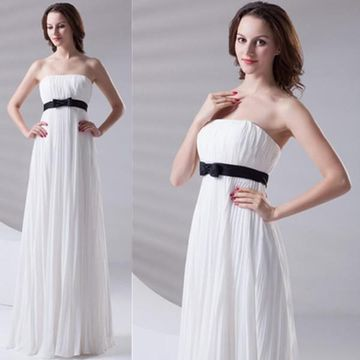 Long Elegant White A-line Strapless Sleeveless Zipper Pleats Bridesmaid Dresses 2019 Chiffon
