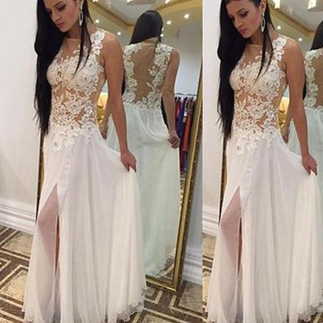 Long Elegant White Sheath Sleeveless Zipper Appliques Prom Dresses 2020 Chiffon Lace Sexy