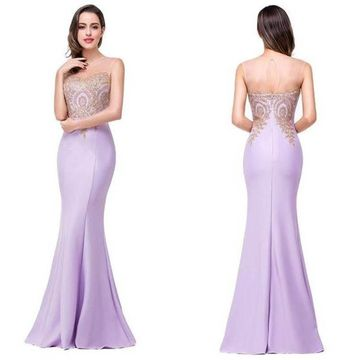 Long Elegant Purple Mermaid Sweetheart Sleeveless Zipper Appliques Prom Dresses 2019