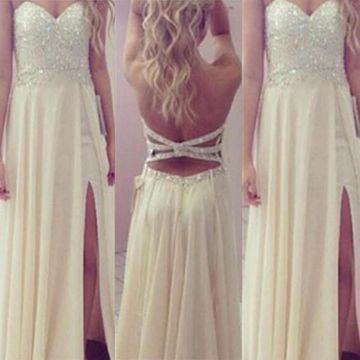 Long Sexy A-line Sweetheart Sleeveless Backless Beading Prom Dresses 2019 Open Back Chiffon