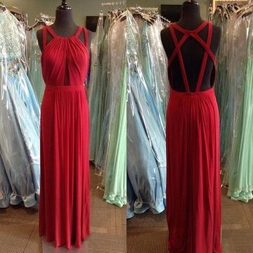 Long Sexy Red A-line Halter Sleeveless Backless Ruched Prom Dresses 2020 Open Back Chiffon