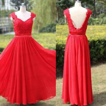 Long Sexy Red A-line Queen Anne Sleeveless Backless Prom Dresses 2019 Open Back Chiffon Lace