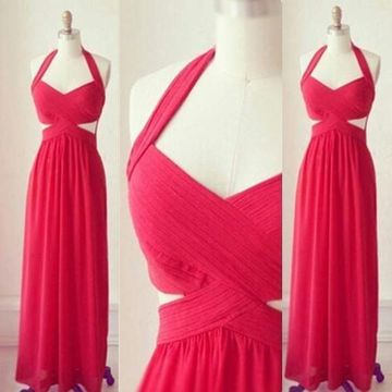 Long Sexy Simple Red A-line Halter Sleeveless Backless Ruffles Prom Dresses 2020 Open Back Chiffon