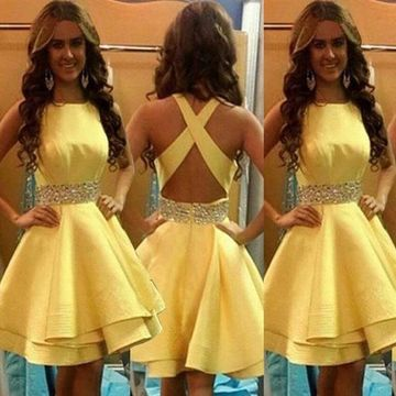Cute Yellow A-line Sleeveless Beading Homecoming Prom Dresses 2019