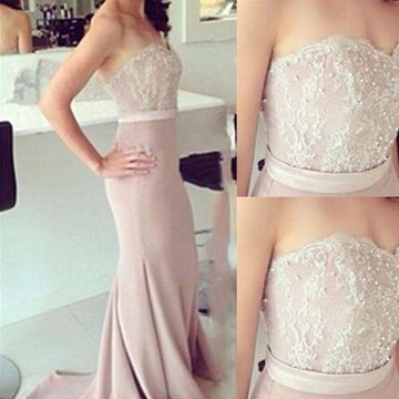 Long Sexy A-line Strapless Zipper Beading Prom Dresses 2019