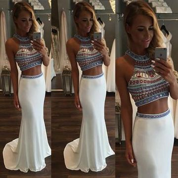 8b24920fcde734 49%OFF Long Junior White Mermaid Halter Sleeveless Zipper Beading ...