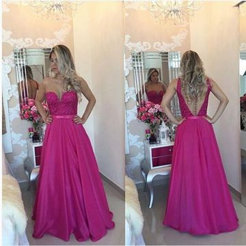 Long Sexy A-line Strapless Sleeveless Backless Appliques Prom Dresses 2019 Open Back