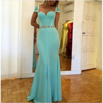 Long Sexy Sheath Queen Anne Zipper Beading Prom Dresses 2019 Chiffon
