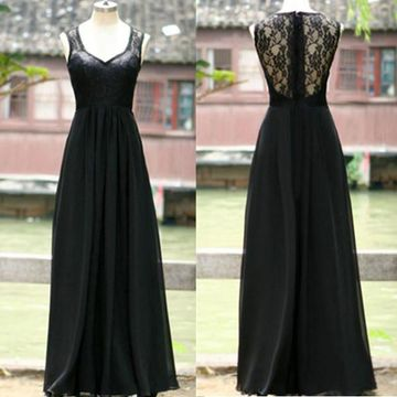 Long Junior Black A-line Sleeveless Zipper Prom Dresses 2019 Chiffon Lace Sexy