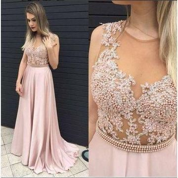 Long A-line Round Neck Sleeveless Beading Prom Dresses 2019 Cute Sexy