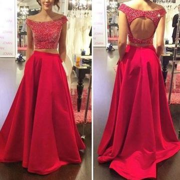 Long Sexy Red A-line Backless Beading Prom Dresses 2019 Open Back Two Piece