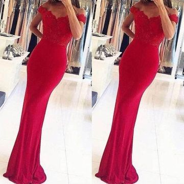 Long Sexy Red Sheath Sleeveless Zipper Appliques Prom Dresses 2019