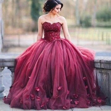 Long Sexy Red Ball Gown Sweetheart Sleeveless Zipper Appliques Prom Dresses 2019