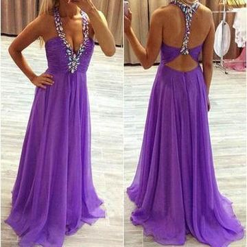 Long Sexy Purple A-line Straps Sleeveless Backless Beading Prom Dresses 2019 V-Neck Open Back Chiffon