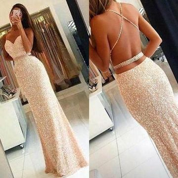 Long Sexy Sheath Spaghetti Straps Sleeveless Backless Beading Prom Dresses 2019 Open Back