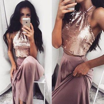 Long Sexy A-line Halter Sleeveless Sequins Prom Dresses 2019 Two Piece