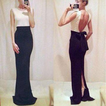 Long Sexy Simple Sheath Sleeveless Backless Bow(s) Prom Dresses 2019 Open Back