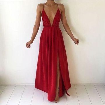 Long Sexy Red A-line Spaghetti Straps Sleeveless Backless Split Front Prom Dresses 2019 V-Neck Open Back Chiffon For Short Girls