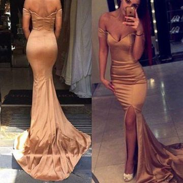 Long Sexy Gold Mermaid Zipper Split Front Prom Dresses 2019