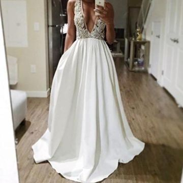 Long Sexy White A-line V-Neck Sleeveless Backless Appliques Prom Dresses 2019 Open Back