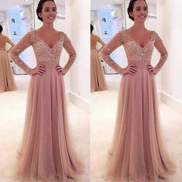 A-line V-Neck Long Sleeves Backless Beading Prom Dresses 2019 Open Back Sexy