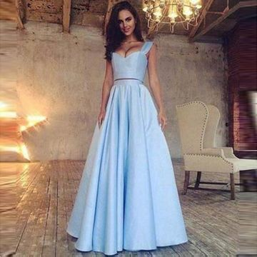 d14d20fac73 49%OFF Long Sexy Blue A-line Straps Sleeveless Prom Dresses Ball ...
