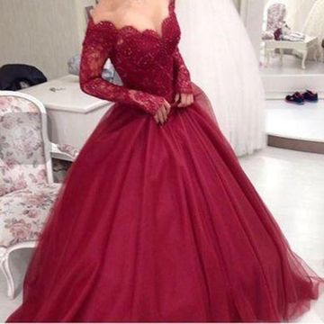 Red Ball Gown V-Neck Long Sleeves Prom Dresses 2019 Lace