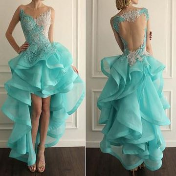 Long Sexy Sleeveless Backless Appliques Prom Dresses 2019 Open Back
