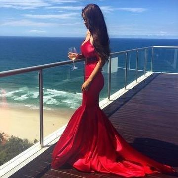 Long Sexy Red Mermaid Spaghetti Straps Sleeveless Beading Prom Dresses 2019 Sheath