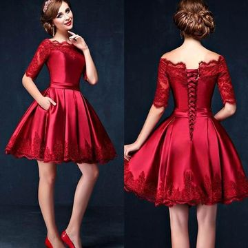 Cute Red A-line Half Sleeves Corset Prom Dresses 2019 Lace