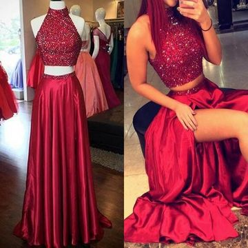 Long Sexy Red A-line High Neck Sleeveless Sequins Prom Dresses 2019 Two Piece