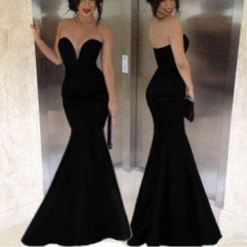 Long Sexy Simple Black Mermaid Strapless Sleeveless Zipper Prom Dresses 2019 Sheath