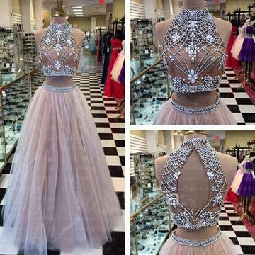 Long Sexy Beige/Champagne Ball Gown Halter Sleeveless Beading Prom Dresses 2019
