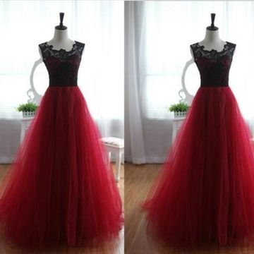 Long Sexy Red A-line Sleeveless Embroidery Prom Dresses Ball Gowns 2019 Lace