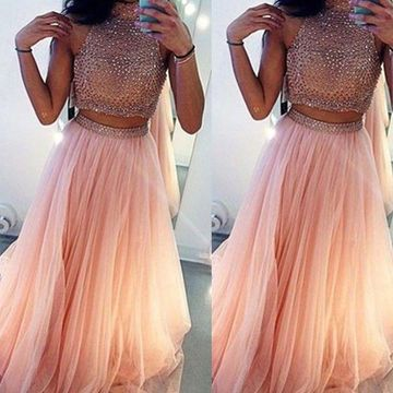 Long Sexy A-line High Neck Sleeveless Crystal Detailing Prom Dresses 2020 Two Piece